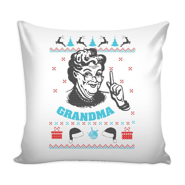 Grandma Festive Funny Ugly Christmas Holiday Sweater Decorative Throw Pillow Cases Cover(4 Colors)-Pillows-White-JoyHip.Com