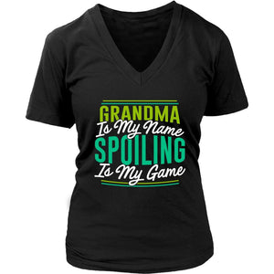 Grandma Is My Name Spoiling Is My Game Best Nana Gift Ideas V-Neck-T-shirt-District Womens V-Neck-Black-JoyHip.Com