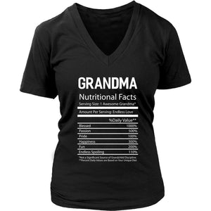 Grandma Nutritional Facts Best Grandmother Gift Ideas Gigi Nana V-Neck-T-shirt-District Womens V-Neck-Black-JoyHip.Com