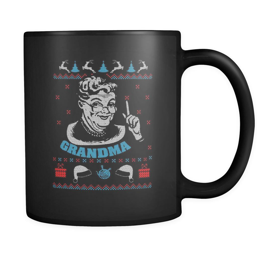 Grandma Ugly Christmas Sweater Black 11oz Coffee Mug-Drinkware-Ugly Christmas Sweater Black 11oz Coffee Mug-JoyHip.Com