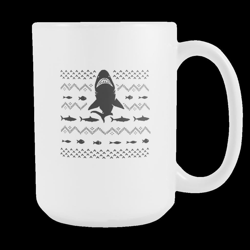 Great White Shark Jaws Funny Ugly Christmas Holiday Sweater White 15oz Coffee Mug-Drinkware-Ugly Christmas Sweater White 15oz Coffee Mug-JoyHip.Com