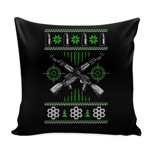 Guns & Ammo 2nd Amendment Festive Funny Ugly Christmas Holiday Sweater Decorative Throw Pillow Cases Cover(4 Colors)-Pillows-Black-JoyHip.Com