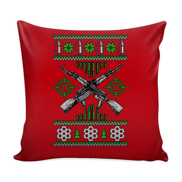 Guns & Ammo 2nd Amendment Festive Funny Ugly Christmas Holiday Sweater Decorative Throw Pillow Cases Cover(4 Colors)-Pillows-Red-JoyHip.Com