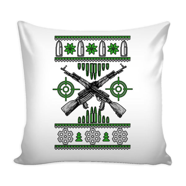 Guns & Ammo 2nd Amendment Festive Funny Ugly Christmas Holiday Sweater Decorative Throw Pillow Cases Cover(4 Colors)-Pillows-White-JoyHip.Com