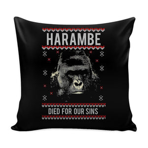 Harambe Died For Our Sins Festive Funny Ugly Christmas Holiday Sweater Decorative Throw Pillow Cases Cover(4 Colors)-Pillows-Black-JoyHip.Com