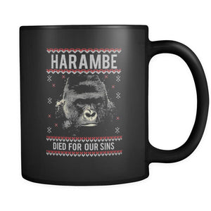 Harambe Died For Our Sins Ugly Christmas Sweater Black 11oz Coffee Mug-Drinkware-Ugly Christmas Sweater Black 11oz Coffee Mug-JoyHip.Com
