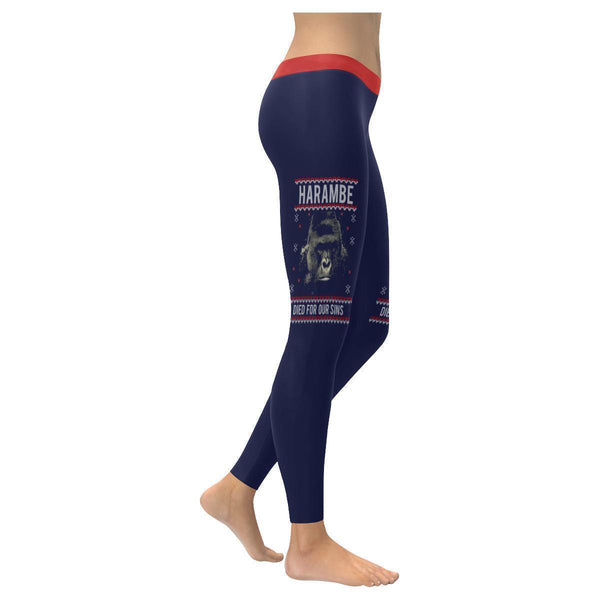 Harambe The Awesome Gorilla Died For Our Sins Gift Ugly Christmas Women Leggings-XXS-Navy-JoyHip.Com