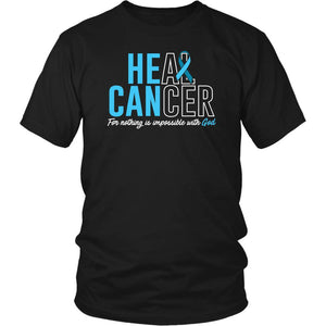 He Can Heal Cancer For Nothing Is Impossible With God Prostate Cancer Awareness Unisex T-Shirt-T-shirt-District Unisex Shirt-Black-JoyHip.Com