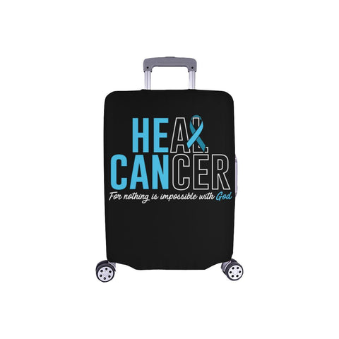 Heal Cancer For Nothing Is Impossible With God Travel Luggage Cover Suitcase-S-Black-JoyHip.Com
