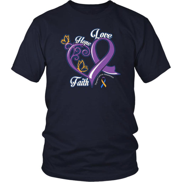 Heart Hope Love Faith Bladder Cancer Awareness Teal Pink Blue Ribbon Gift TShirt-T-shirt-District Unisex Shirt-Navy-JoyHip.Com