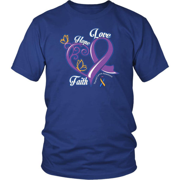 Heart Hope Love Faith Bladder Cancer Awareness Teal Pink Blue Ribbon Gift TShirt-T-shirt-District Unisex Shirt-Royal Blue-JoyHip.Com