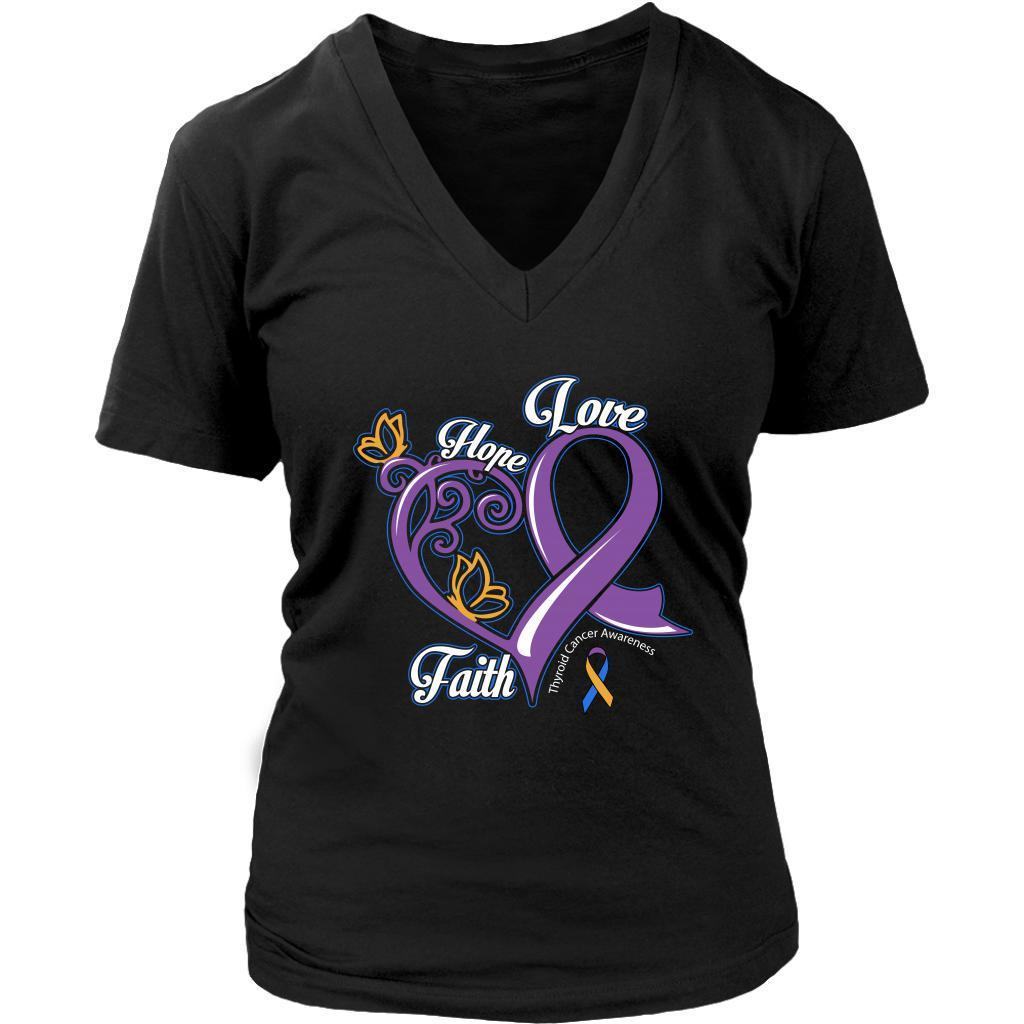 Heart Hope Love Faith Bladder Cancer Yellow Blue Purple Ribbon Gift VNeck TShirt-T-shirt-District Womens V-Neck-Black-JoyHip.Com