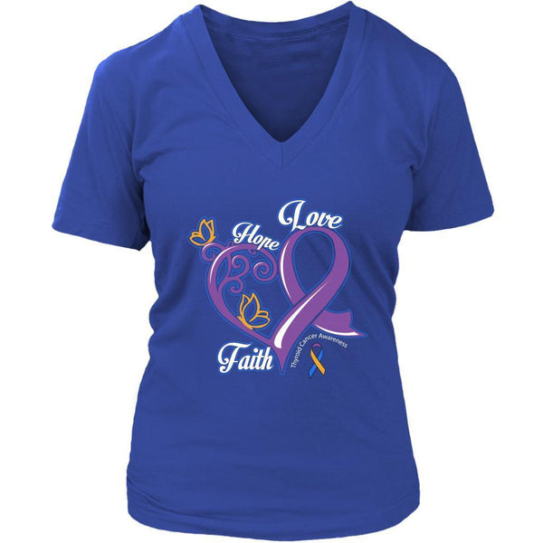Heart Hope Love Faith Bladder Cancer Yellow Blue Purple Ribbon Gift VNeck TShirt-T-shirt-District Womens V-Neck-Royal Blue-JoyHip.Com