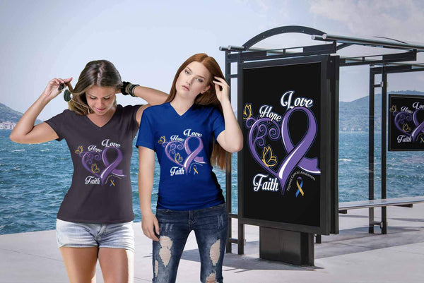 Heart Hope Love Faith Bladder Cancer Yellow Blue Purple Ribbon Gift VNeck TShirt-T-shirt-JoyHip.Com