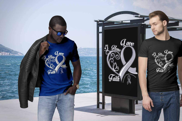 Heart Hope Love Faith Carcinoid Cancer Awareness Zebra Stripe Gift Ribbon TShirt-T-shirt-JoyHip.Com