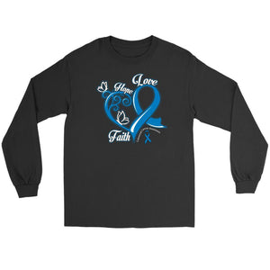 Heart Hope Love Faith Colorectal Cancer Awareness Blue Ribbon Long Sleeve Shirt-T-shirt-Gildan Long Sleeve Tee-Black-JoyHip.Com