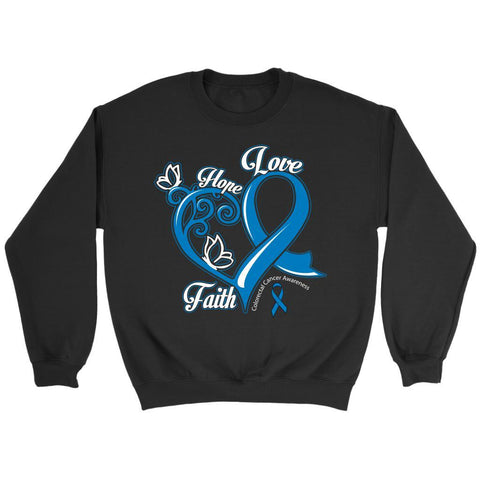 Heart Hope Love Faith Colorectal Cancer Awareness Blue Ribbon Sweater-T-shirt-Crewneck Sweatshirt-Black-JoyHip.Com