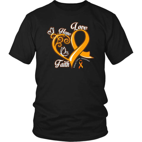 Heart Hope Love Faith Kidney Cancer Awareness Orange Gift Ribbon TShirt-T-shirt-District Unisex Shirt-Black-JoyHip.Com