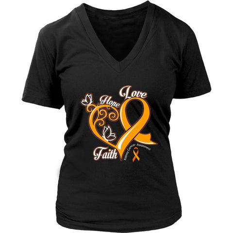 Heart Hope Love Faith Kidney Cancer Awareness Orange Ribbon VNeck Shirt-T-shirt-District Womens V-Neck-Black-JoyHip.Com
