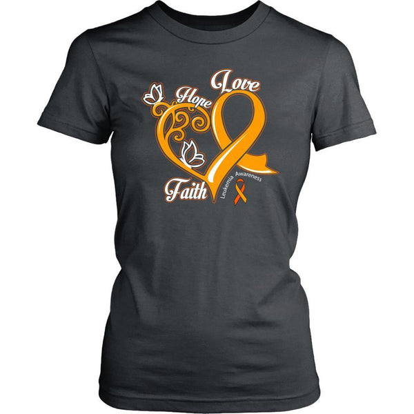 Heart Hope Love Faith Leukemia Awareness Awesome Cool Women T-Shirt-T-shirt-District Womens Shirt-Grey-JoyHip.Com