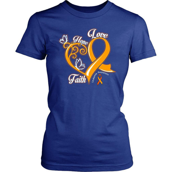 Heart Hope Love Faith Leukemia Awareness Awesome Cool Women T-Shirt-T-shirt-District Womens Shirt-Royal Blue-JoyHip.Com