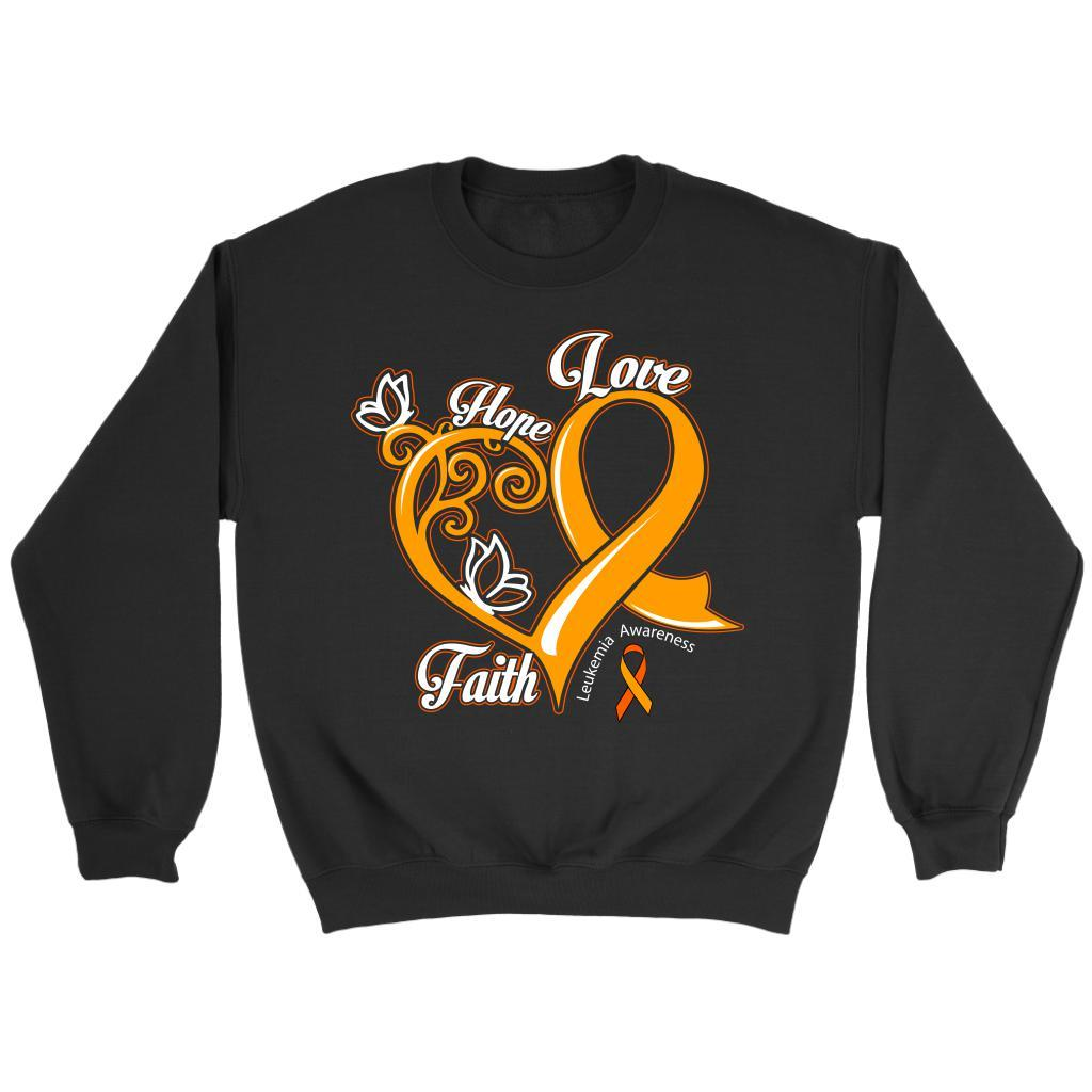 Heart Hope Love Faith Leukemia Awareness Unisex Crewneck Sweatshirt-T-shirt-Crewneck Sweatshirt-Black-JoyHip.Com