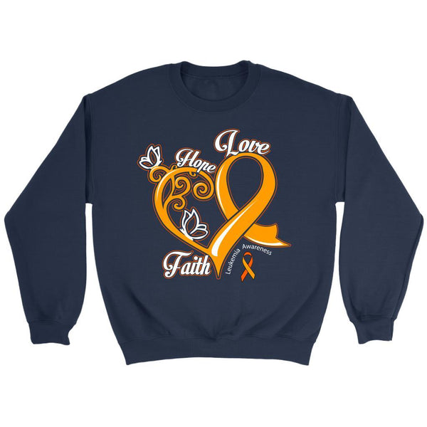 Heart Hope Love Faith Leukemia Awareness Unisex Crewneck Sweatshirt-T-shirt-Crewneck Sweatshirt-Navy-JoyHip.Com