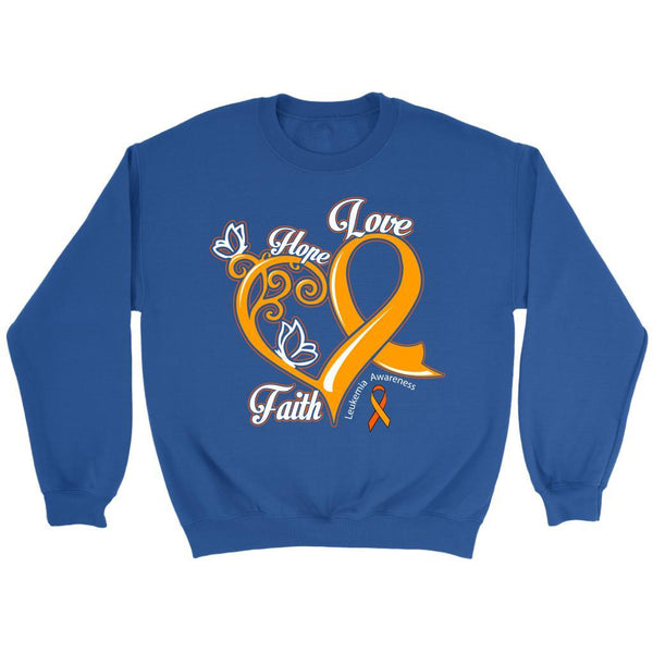 Heart Hope Love Faith Leukemia Awareness Unisex Crewneck Sweatshirt-T-shirt-Crewneck Sweatshirt-Royal Blue-JoyHip.Com