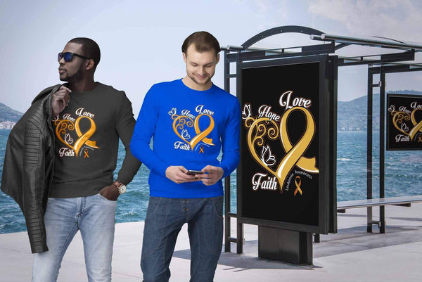 Heart Hope Love Faith Leukemia Awareness Unisex Crewneck Sweatshirt-T-shirt-JoyHip.Com