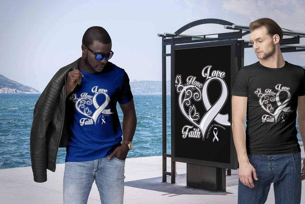 Heart Hope Love Faith Lung Cancer Awareness White Gift Ribbon TShirt-T-shirt-JoyHip.Com