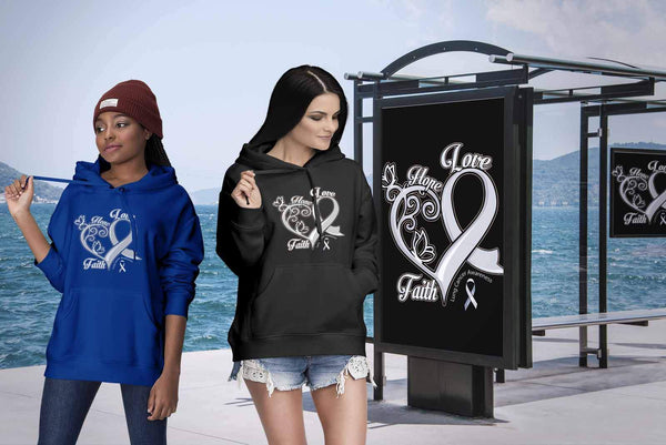 Heart Hope Love Faith Lung Cancer Awareness White Ribbon Gift Hoodie-T-shirt-JoyHip.Com