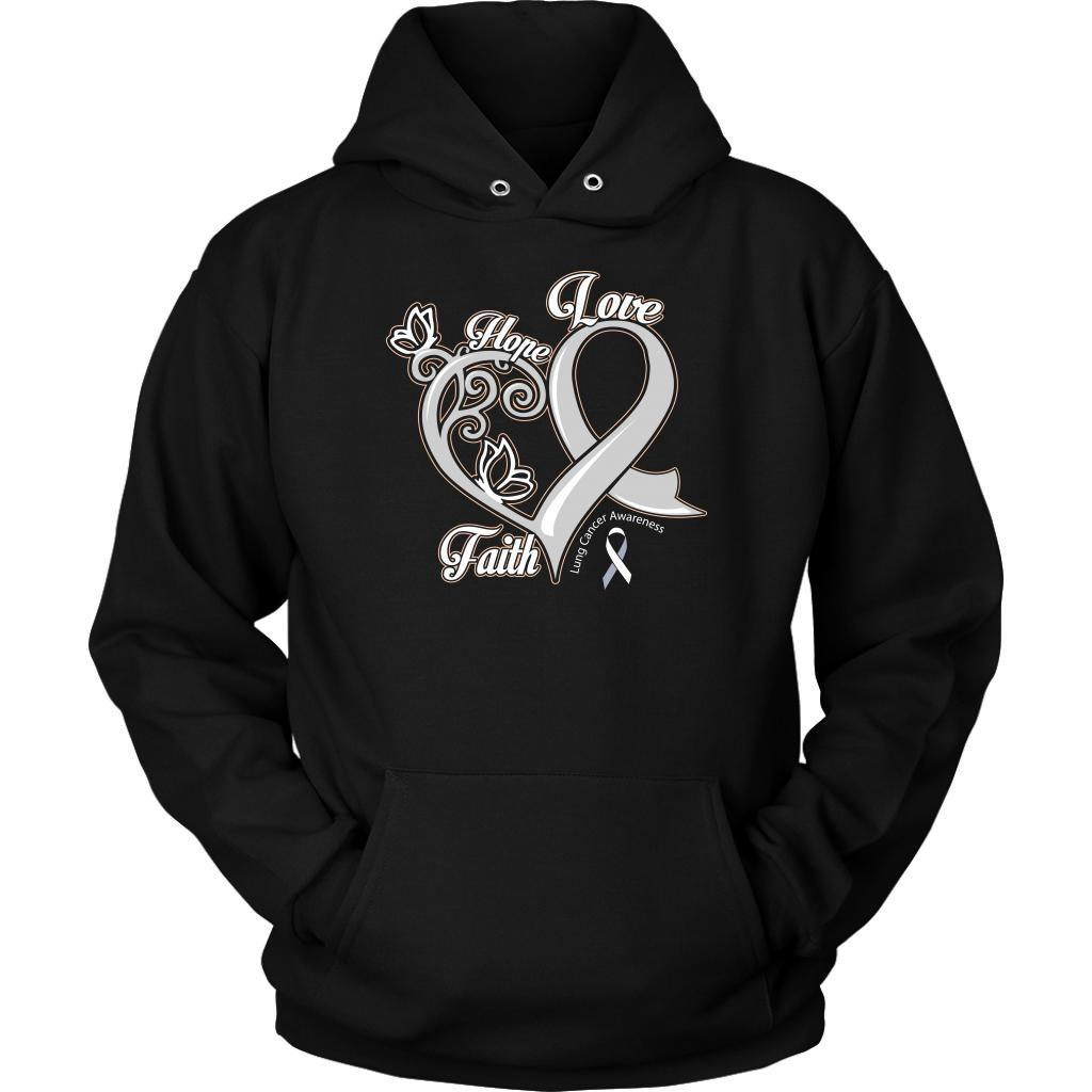 Heart Hope Love Faith Lung Cancer Awareness White Ribbon Gift Hoodie-T-shirt-Unisex Hoodie-Black-JoyHip.Com