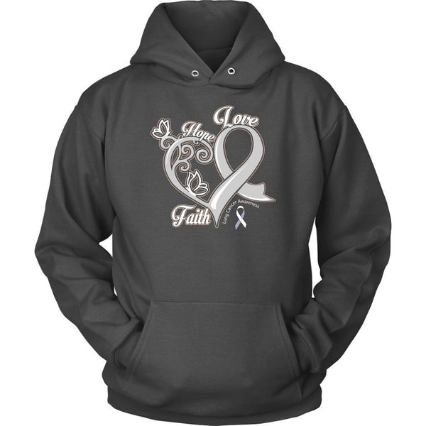 Heart Hope Love Faith Lung Cancer Awareness White Ribbon Gift Hoodie-T-shirt-Unisex Hoodie-Grey-JoyHip.Com