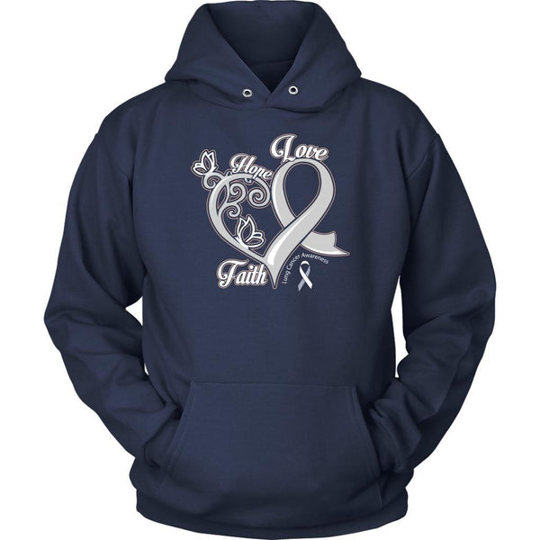 Heart Hope Love Faith Lung Cancer Awareness White Ribbon Gift Hoodie-T-shirt-Unisex Hoodie-Navy-JoyHip.Com