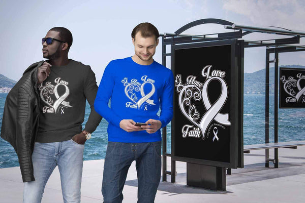 Heart Hope Love Faith Lung Cancer Awareness White Ribbon Sweater-T-shirt-JoyHip.Com