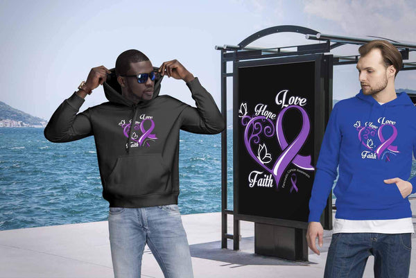 Heart Hope Love Faith Pancreatic Cancer Awareness Purple Ribbon Gift Idea Hoodie-T-shirt-JoyHip.Com