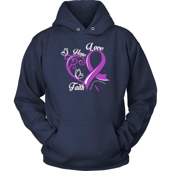 Heart Hope Love Faith Pancreatic Cancer Awareness Purple Ribbon Gift Idea Hoodie-T-shirt-Unisex Hoodie-Navy-JoyHip.Com