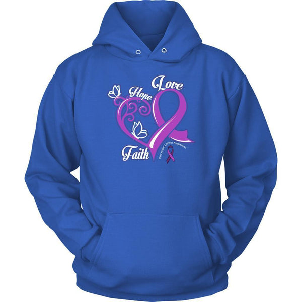 Heart Hope Love Faith Pancreatic Cancer Awareness Purple Ribbon Gift Idea Hoodie-T-shirt-Unisex Hoodie-Royal Blue-JoyHip.Com