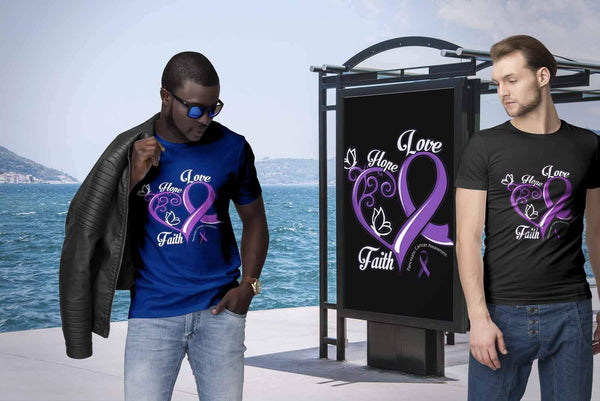 Heart Hope Love Faith Pancreatic Cancer Awareness Purple Ribbon Gift Idea TShirt-T-shirt-JoyHip.Com