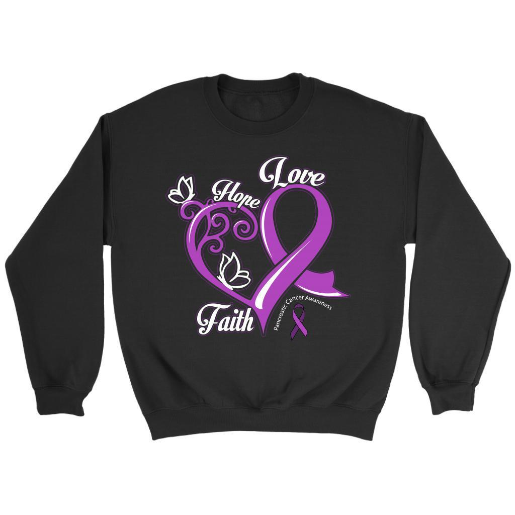 Heart Hope Love Faith Pancreatic Cancer Awareness Purple Ribbon Gifts Sweater-T-shirt-Crewneck Sweatshirt-Black-JoyHip.Com