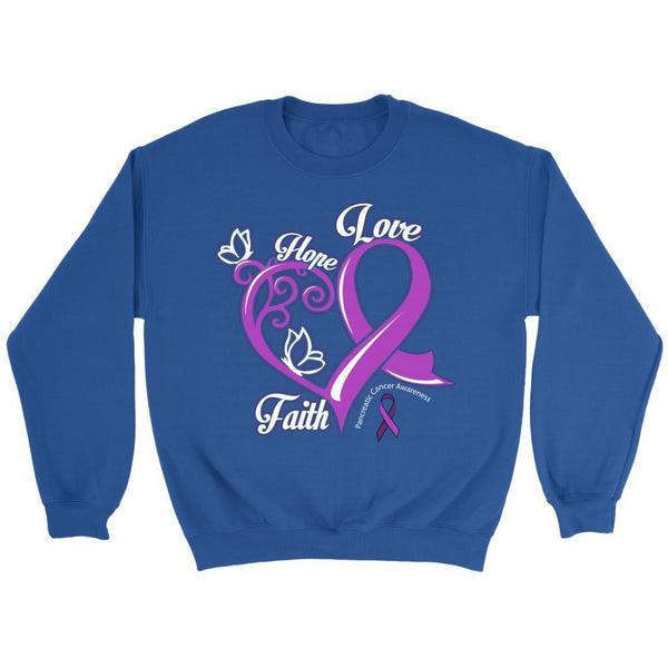 Heart Hope Love Faith Pancreatic Cancer Awareness Purple Ribbon Gifts Sweater-T-shirt-Crewneck Sweatshirt-Royal Blue-JoyHip.Com