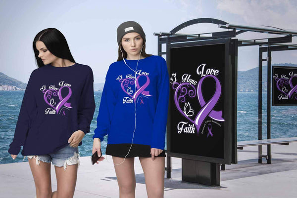 Heart Hope Love Faith Pancreatic Cancer Awareness Purple Ribbon Gifts Sweater-T-shirt-JoyHip.Com