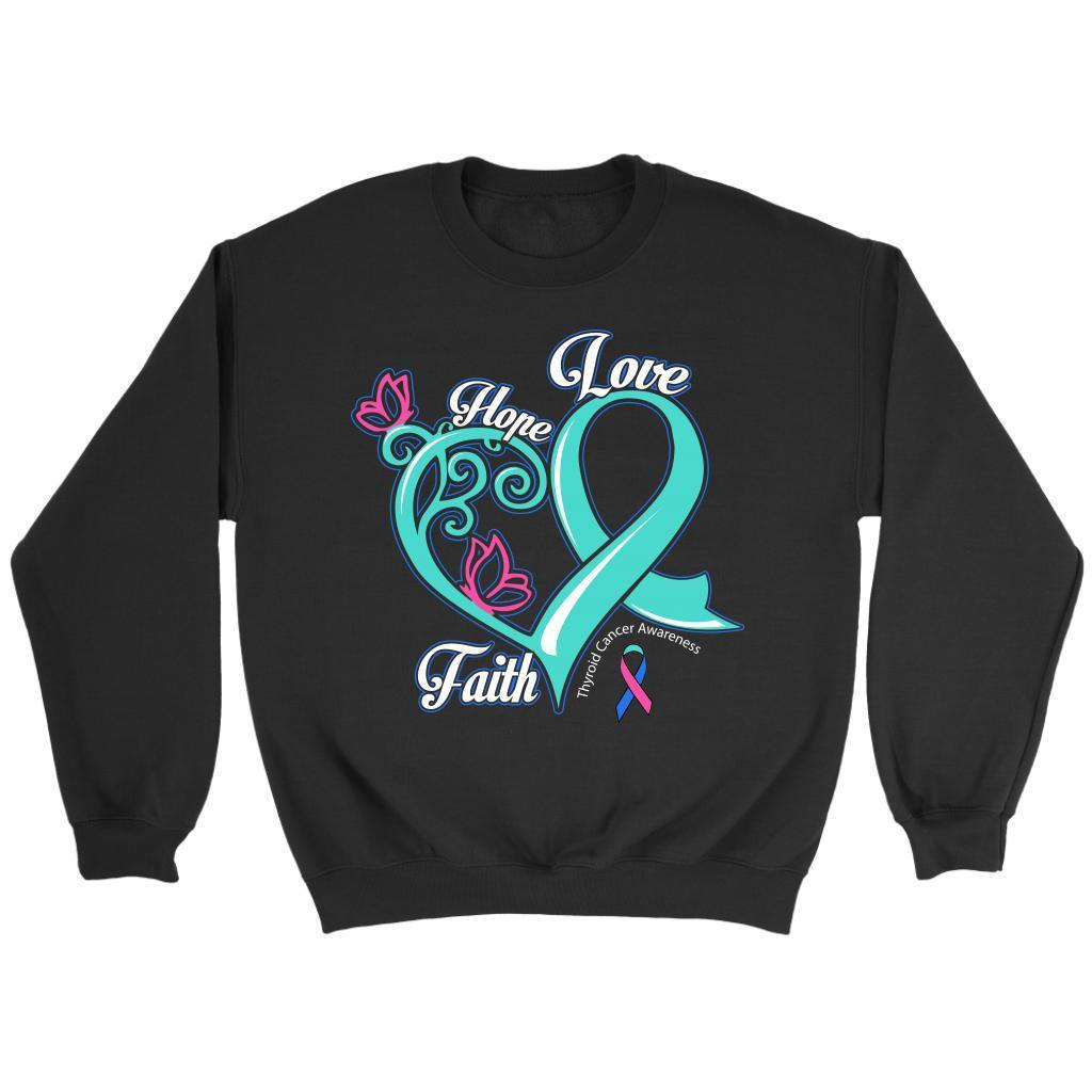 Heart Hope Love Faith Thyroid Cancer Awareness Teal Pink & Blue Ribbon Sweater-T-shirt-Crewneck Sweatshirt-Black-JoyHip.Com