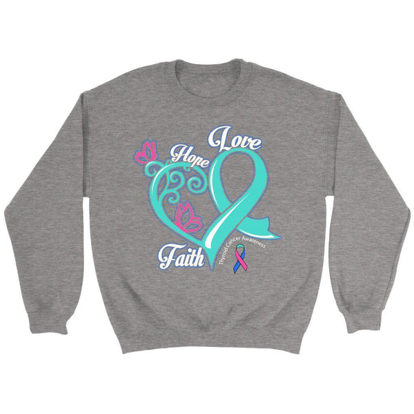 Heart Hope Love Faith Thyroid Cancer Awareness Teal Pink & Blue Ribbon Sweater-T-shirt-Crewneck Sweatshirt-Grey-JoyHip.Com