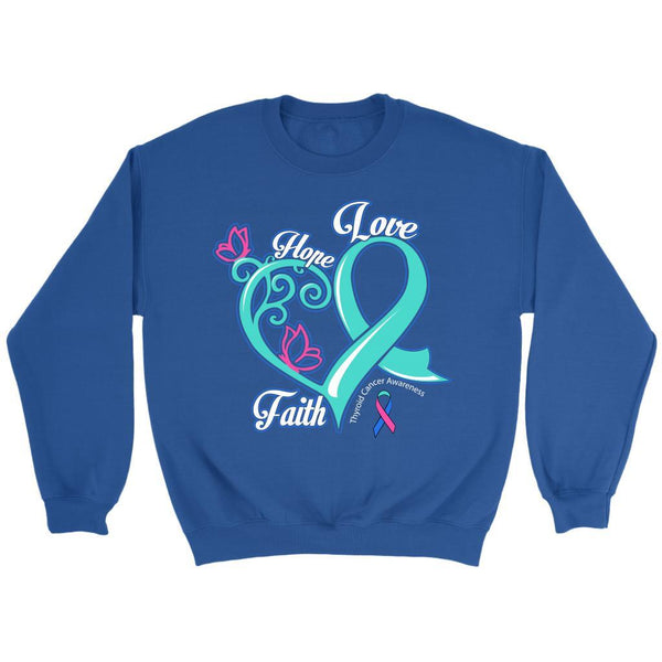 Heart Hope Love Faith Thyroid Cancer Awareness Teal Pink & Blue Ribbon Sweater-T-shirt-Crewneck Sweatshirt-Royal Blue-JoyHip.Com