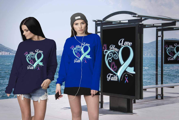 Heart Hope Love Faith Thyroid Cancer Awareness Teal Pink & Blue Ribbon Sweater-T-shirt-JoyHip.Com