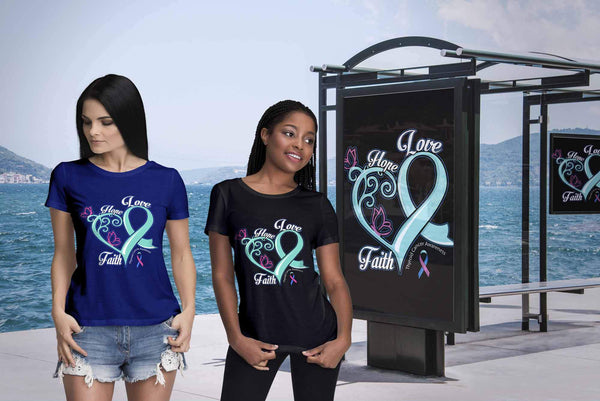 Heart Hope Love Faith Thyroid Cancer Teal Pink Blue Ribbon Gift Women TShirt-T-shirt-JoyHip.Com