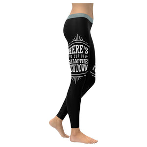 Heres A Cup Of Calm The Fuck Down Humor Gag Funny Quotes UPF40+ Womens Leggings-XXS-Black-JoyHip.Com