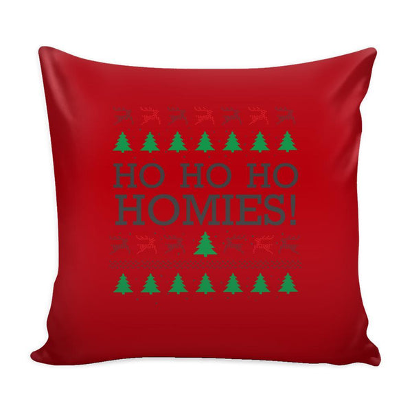 Ho Ho Ho Homies Funny Festive Ugly Christmas Holiday Sweater Decorative Throw Pillow Cases Cover(4 Colors)-Pillows-Red-JoyHip.Com