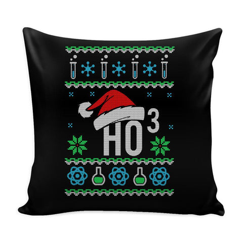 HO3 Hydrogen Trioxide Chemistry Science Funny Festive Funny Ugly Christmas Holiday Sweater Decorative Throw Pillow Cases Cover(4 Colors)-Pillows-Black-JoyHip.Com